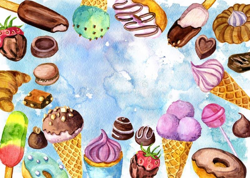 与水彩冰淇凌、面包店和糖果的背景 向量例证