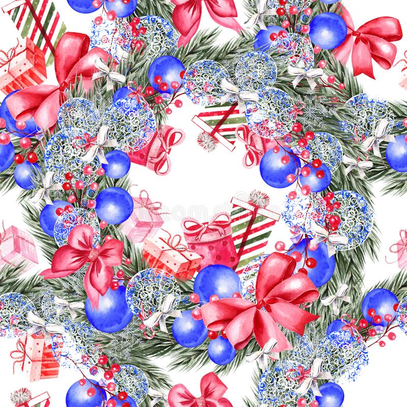 与水彩圣诞树的手画圣诞快乐无缝的蓝色颜色样式,球,礼物和玩具 皇族释放例证