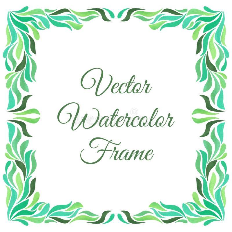 与水彩在白色背景隔绝的绿色叶子的装饰框架 库存例证