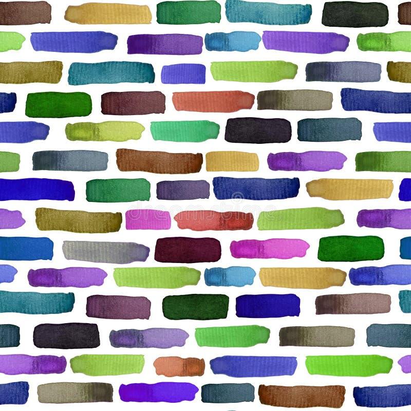与水彩多彩多姿的砖的无缝的样式,墙壁背景 皇族释放例证