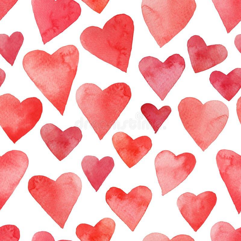 与水彩心脏的华伦泰装饰品 免版税库存照片