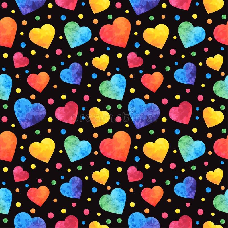 与水彩心脏的无缝的样式,情人节背景,纹理,包裹 eps10开花橙色模式缝制的rac ric缝的镶边修整向量墙纸黄色 库存例证