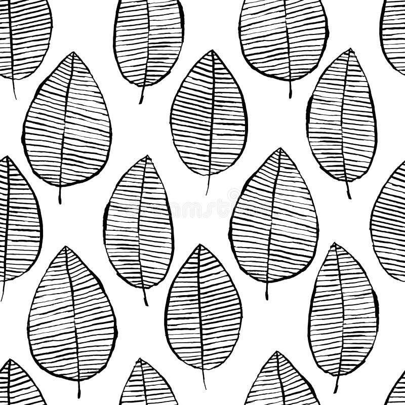 与水彩手拉的叶子的传染媒介无缝的样式 黑白色概述背景 时髦斯堪的纳维亚设计 库存例证