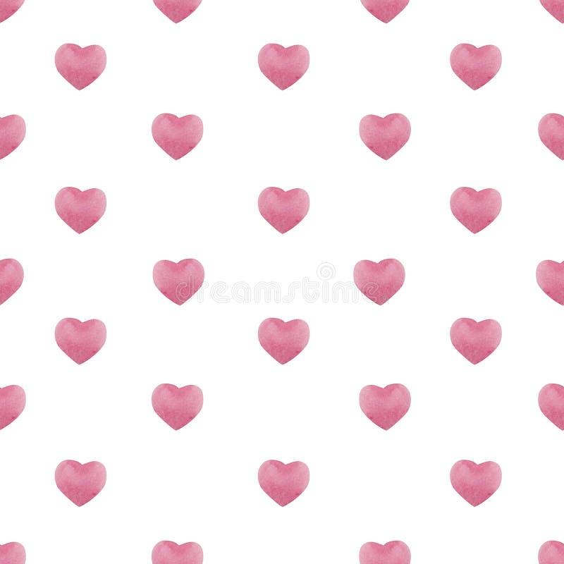 与水彩桃红色心脏的情人节无缝的样式,2月14日庆祝的背景 皇族释放例证