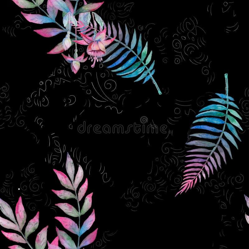 与水彩棕榈叶的热带无缝的花卉样式在黑背景 紫色,桃红色和绿色纹理 ?? 皇族释放例证