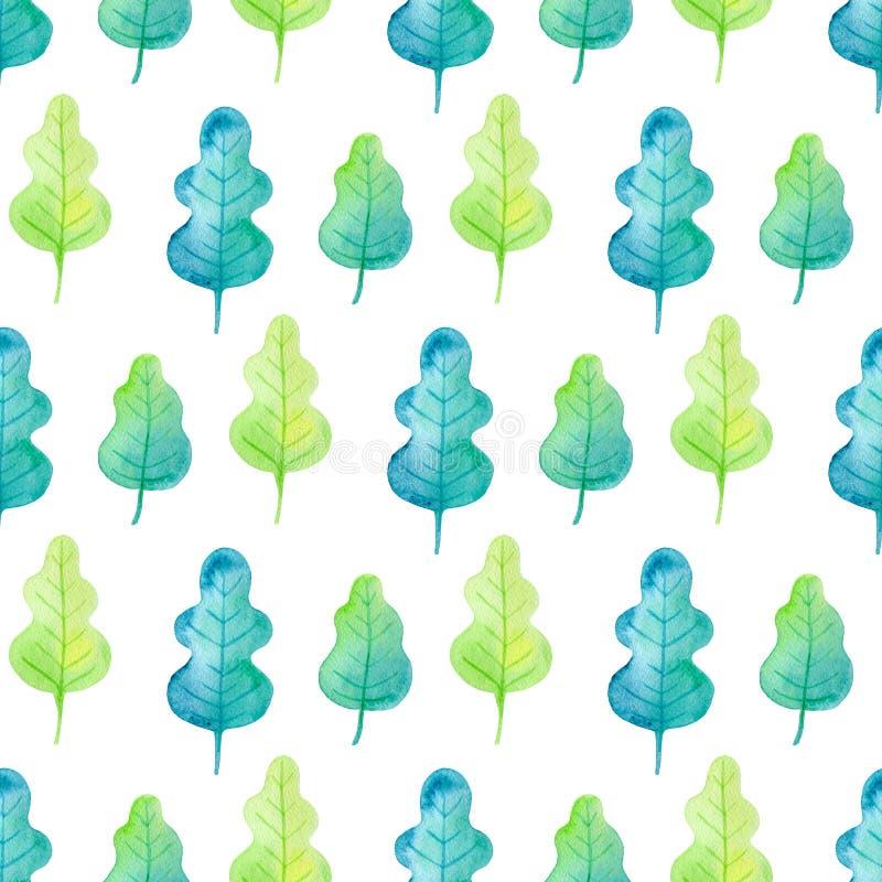 与水彩橡木叶子的样式 向量例证