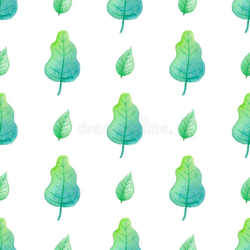 与水彩橡木叶子的样式 库存例证