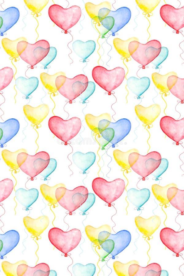 与水彩气球的情人节背景 库存例证