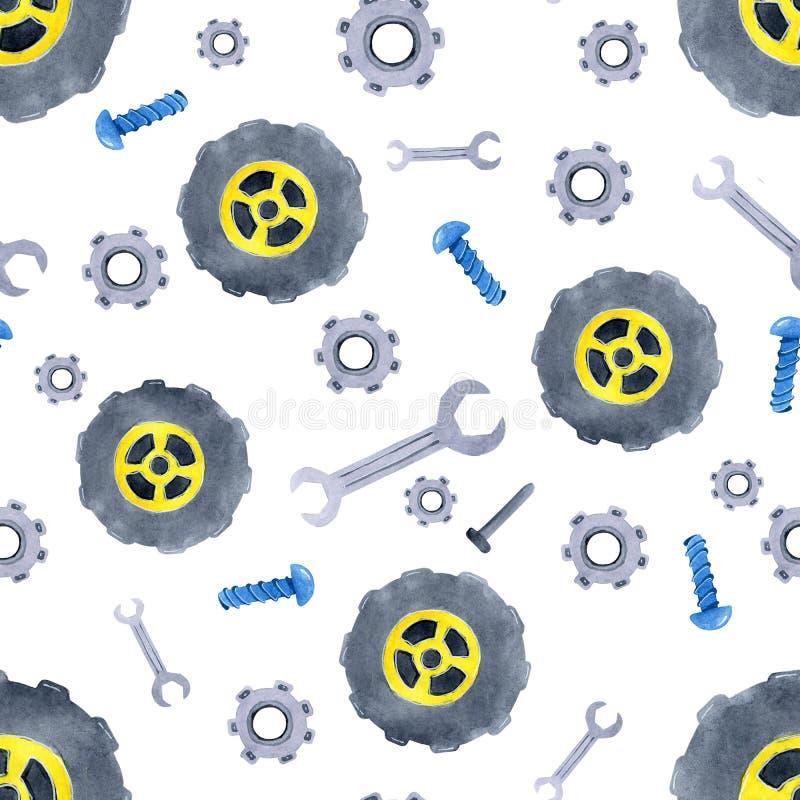 与水彩汽车备件的无缝的样式 儿童的衣物,墙纸,包装,背景,墙壁设计  向量例证