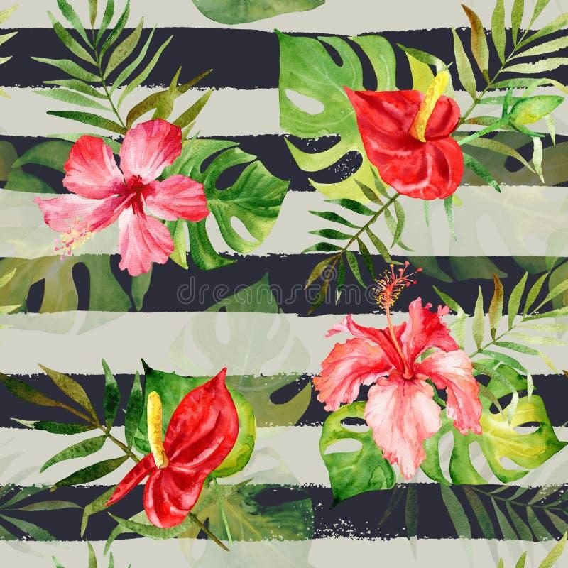 与水彩热带花和叶子的无缝的样式 皇族释放例证