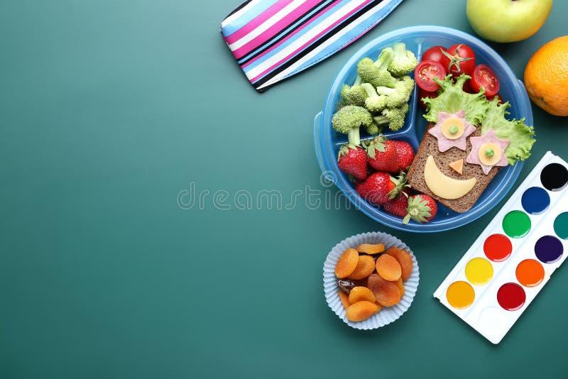 与水彩的学校午餐 图库摄影