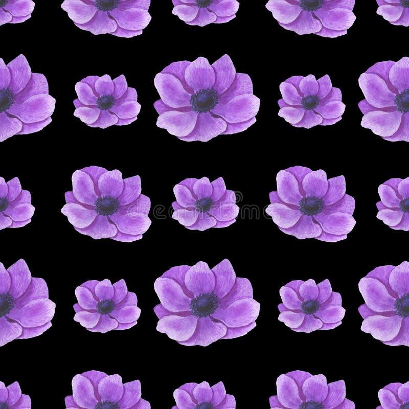 与水彩花叶子小树枝花叶纹理手工制造数字纸纺织品的银莲花属例证的无缝的样式 皇族释放例证