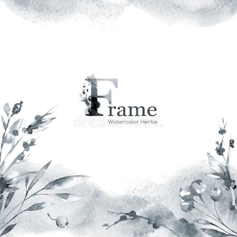 与水彩花和草本的手画方形的框架 鱼 自然模板设计 皇族释放例证