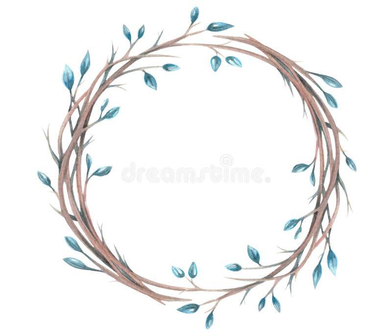 与水彩装饰花圈的例证 向量例证