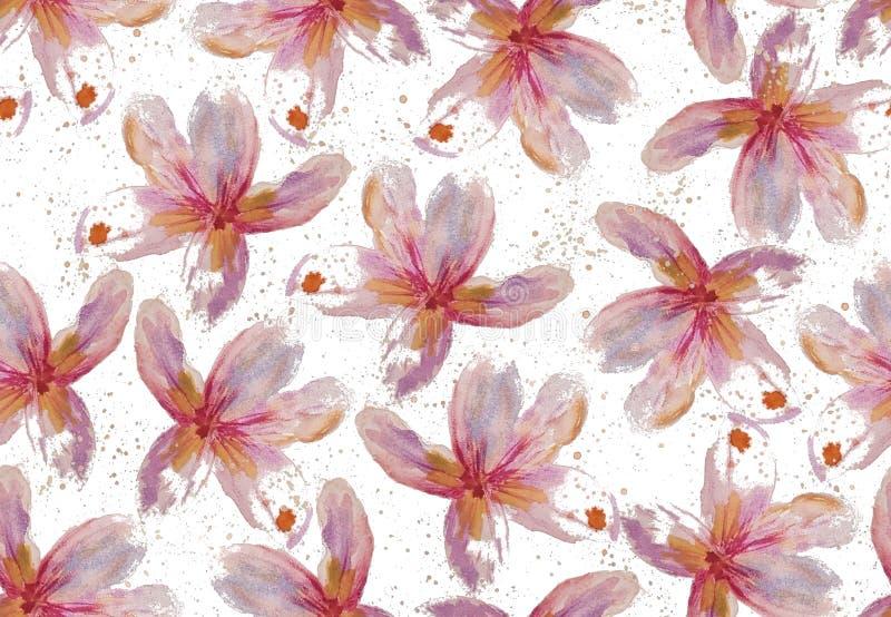 与水彩赤素馨花花的无缝的光栅样式 向量例证
