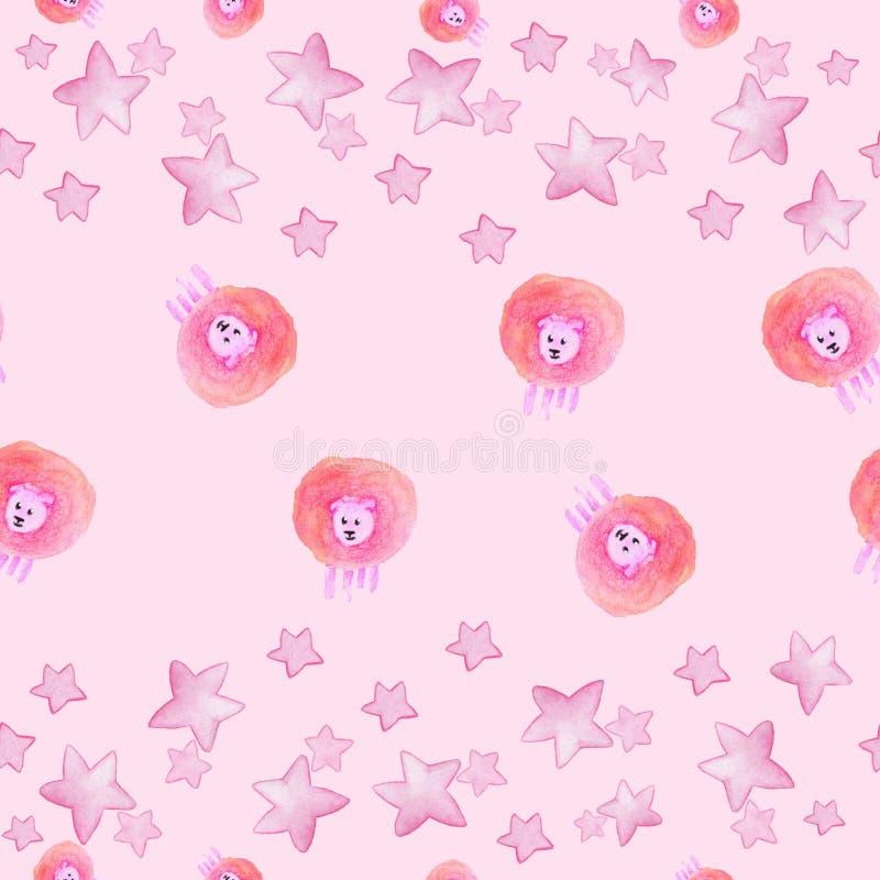 与水彩逗人喜爱的绵羊和星的桃红色无缝的样式 向量例证