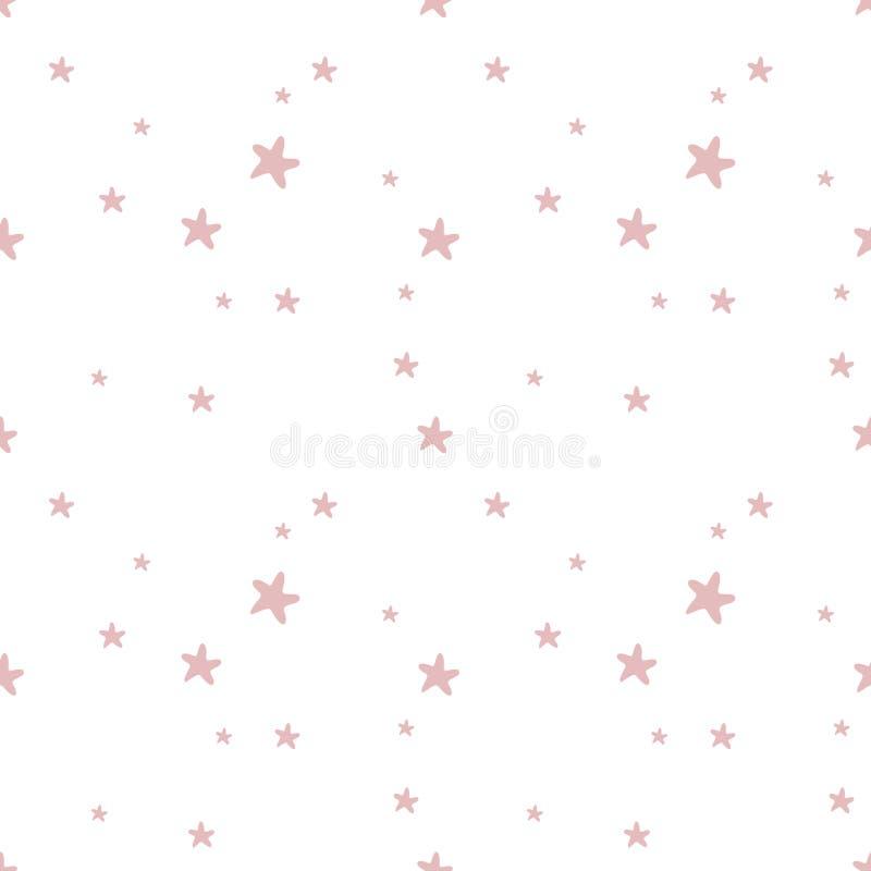 与水彩金抽象星元素的无缝的样式 男婴女孩背景和织品设计 向量例证