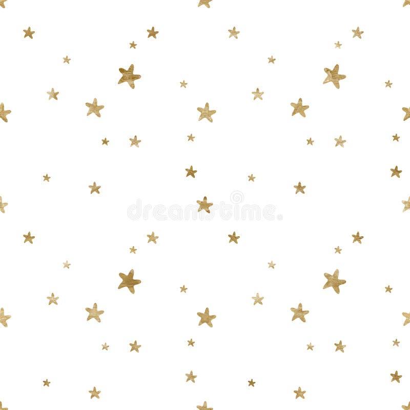 与水彩金抽象星元素的无缝的样式 男婴女孩背景和织品设计 皇族释放例证