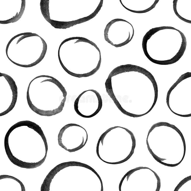 与水彩长圆形形状的无缝的装饰样式 向量例证