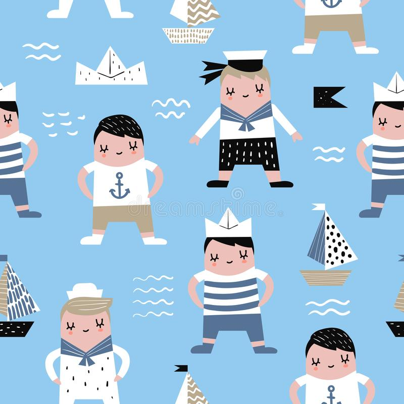 与水手男孩的幼稚无缝的样式 向量例证