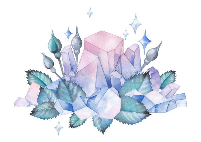 与水晶和叶子的水彩设计 皇族释放例证