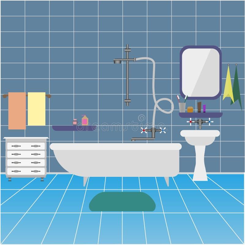 与水槽和镜子的卫生间内部 ?? 库存例证