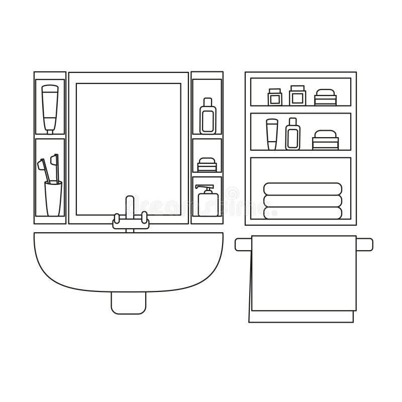 与水盆、镜子和毛巾的卫生间内部 皇族释放例证