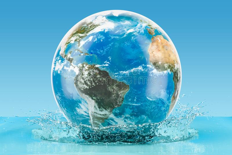 与水飞溅在蓝色背景, 3D的地球地球renderi 库存例证