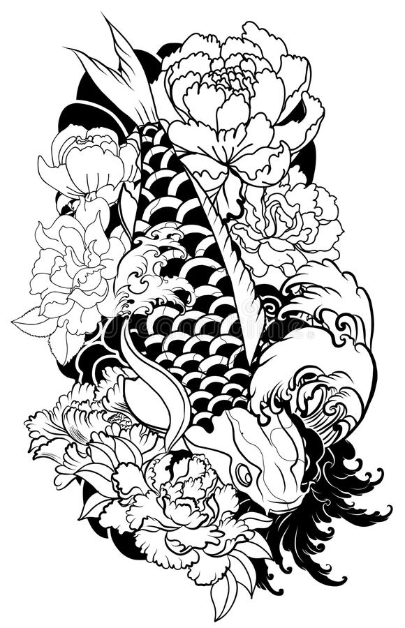 胳膊的 与水飞溅的五颜六色的koi鲤鱼,莲花和牡丹开花 日本纹身花刺和