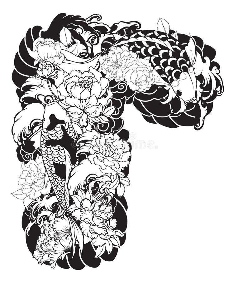 与水飞溅的美丽,五颜六色的Koi鲤鱼,莲花和牡丹开花 传统日本纹身花刺设计 皇族释放例证