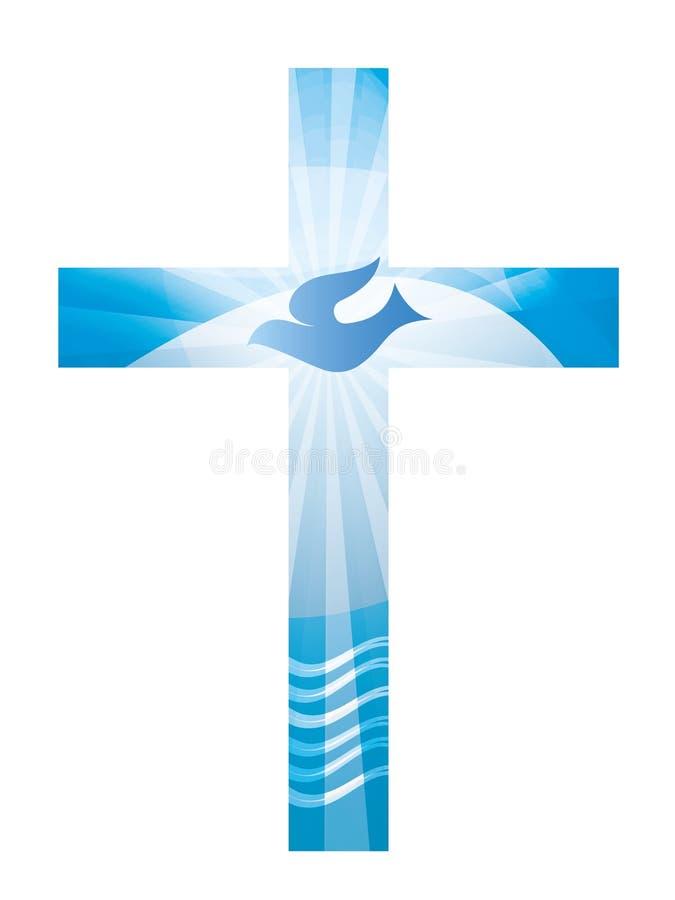 与水鸠和波浪的洗礼基督徒十字架在蓝色背景的 宗教标志 库存例证