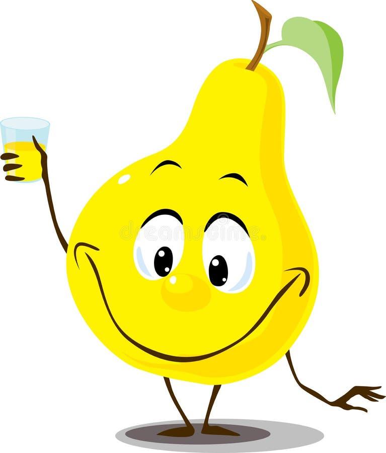 与汁液举行手中滑稽的动画片平的设计玻璃的梨  向量例证