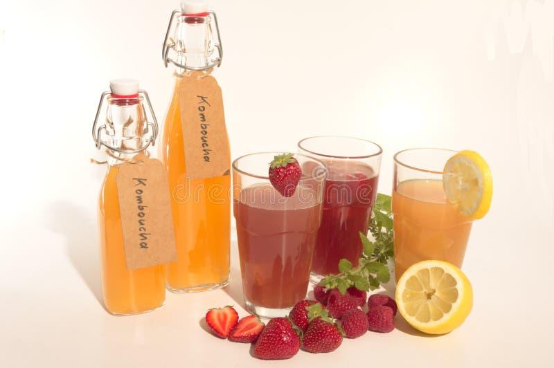 与汁液komboucha的茶点在冰 库存照片
