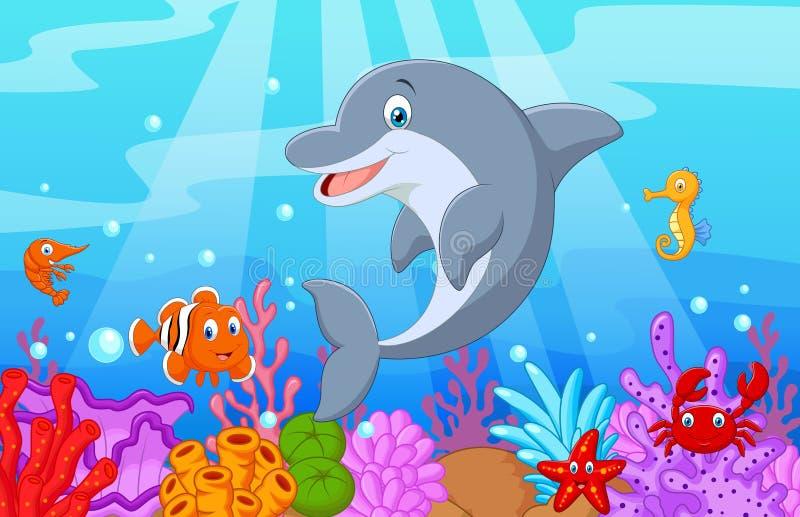 与汇集鱼的常设海豚动画片 皇族释放例证