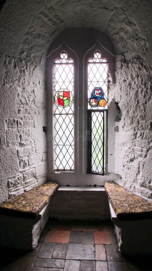 与污点玻璃的城堡窗口 免版税库存照片