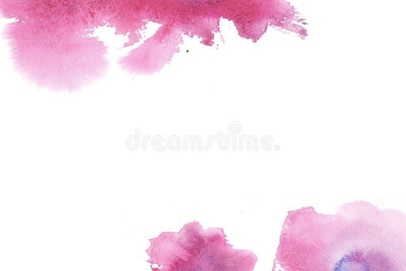 与污点的手拉的五颜六色的水彩摘要框架 库存例证