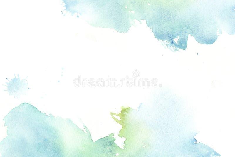 与污点的手拉的五颜六色的水彩摘要框架 库存照片