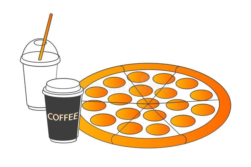 与汽水和咖啡,最小的传染媒介概念的被隔绝的比萨 向量例证