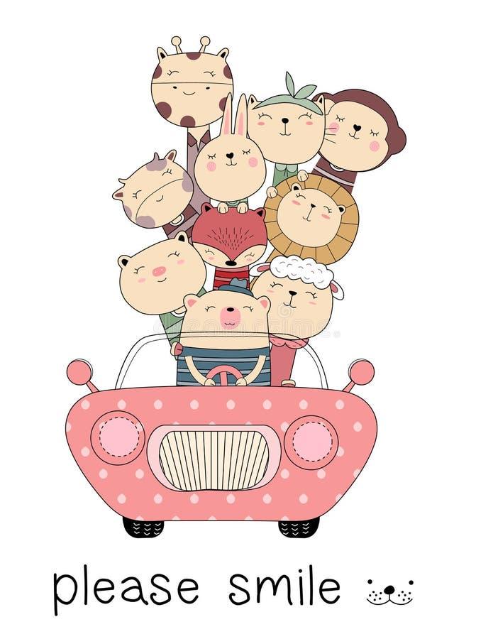 与汽车动画片手拉的样式的可爱宝贝动物或者打印,卡片,T恤杉,横幅,产品 向量 向量例证
