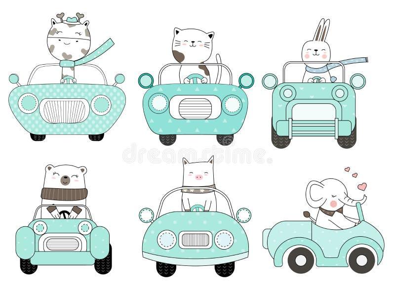 与汽车动画片手拉的样式的可爱宝贝动物,打印的,卡片,T恤杉,横幅,产品 向量 皇族释放例证