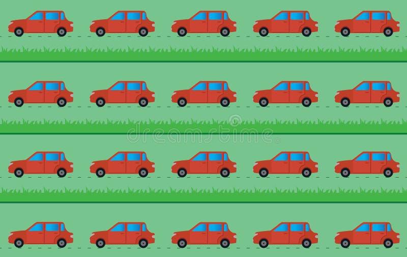 与汽车和草的传染媒介背景 免版税库存照片