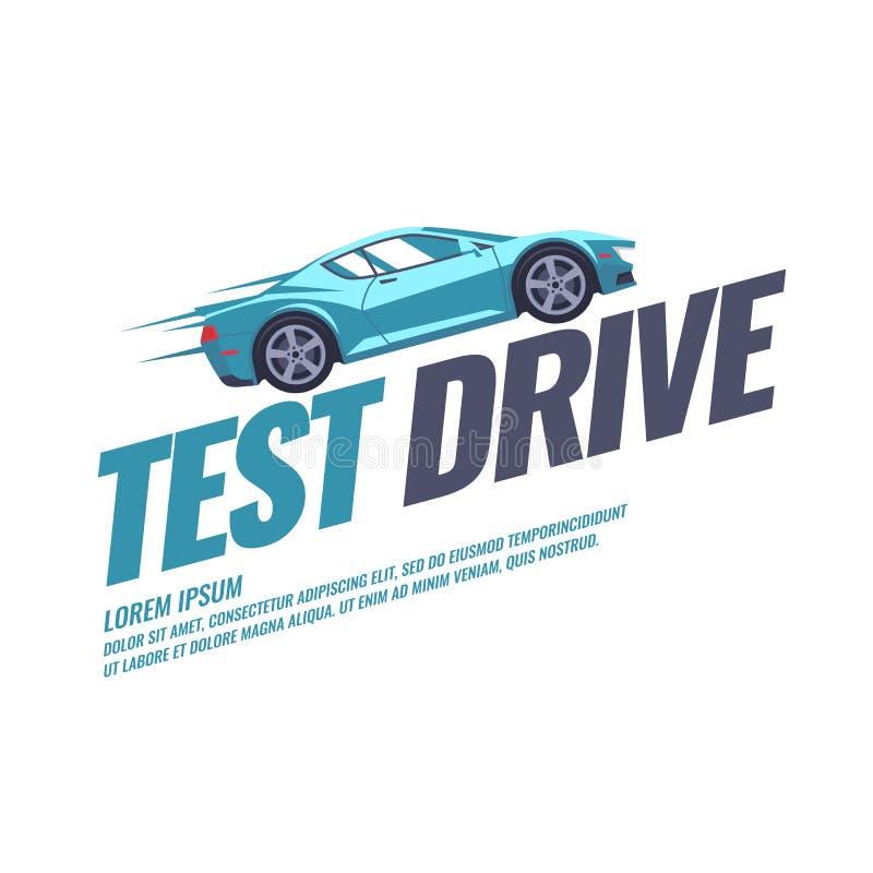 与汽车的现代海报实验驾驶 皇族释放例证