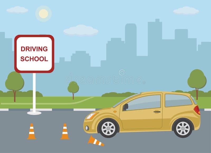 与汽车的驾驶学校概念在城市背景 皇族释放例证