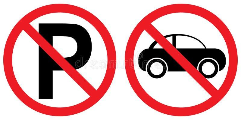 与汽车象的禁止停车标志 库存例证