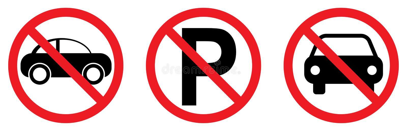 与汽车象的禁止停车标志 皇族释放例证
