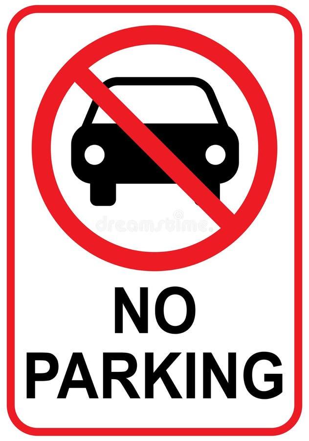 与汽车象的禁止停车标志 向量例证