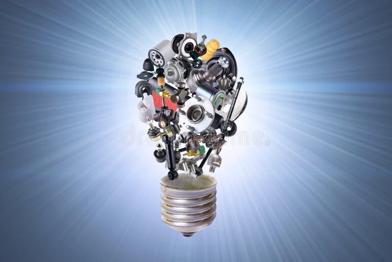 与汽车零件的电电灯泡 免版税库存图片