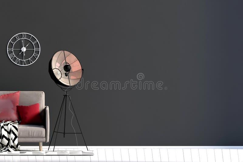 与沙发和灯的现代内部 墙壁嘲笑 3D illustratio 库存例证