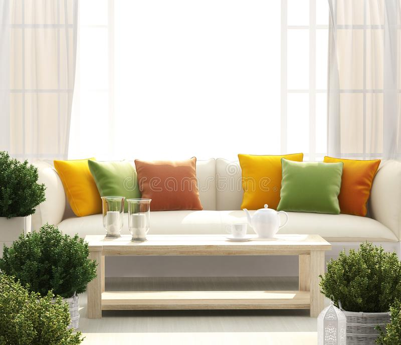 与沙发和花的明亮的大阳台 免版税库存图片