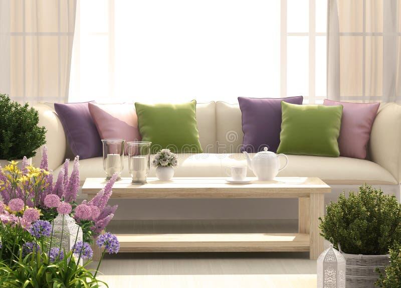 与沙发和花的美丽的大阳台 库存图片